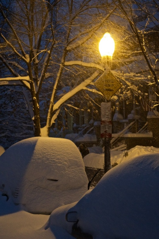 streetlight snow